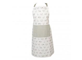 Kuchyňská zástěra z bavlny Coutry Life Animals bílo-zelená - 70*85 cm