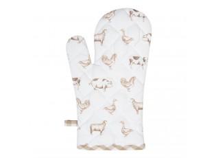 Kuchyňská chňapka z bavlny Country Life Animals béžovo-bílá - 16*30 cm