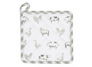 Bavlněná podložka pod hrnec Country Life Animals bílo-zelená - 20*20 cm