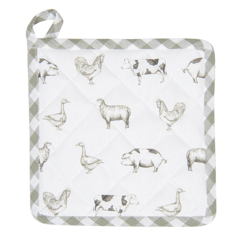 Levně Clayre & Eef Bavlněná podložka pod hrnec Country Life Animals bílo-zelená - 20*20 cm