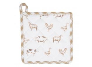Bavlněná podložka pod hrnec Country Life Animals bílo-béžová - 20*20 cm