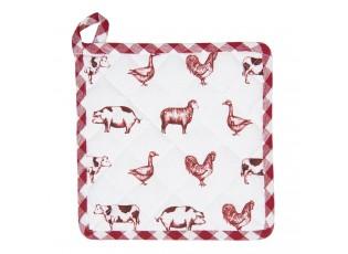 Bavlněná podložka pod hrnec Country Life Animals bílo-červená - 20*20 cm