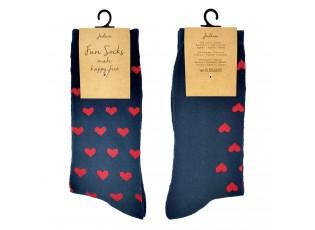 Veselé modré ponožky se srdíčky - 39-41