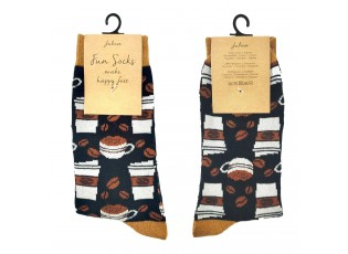 Veselé černé ponožky s kávou - 39-41
