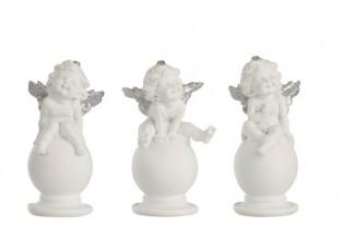 Sada 2ks bílých andělů na kouli se stříbrnými křídly -7*7*14cm