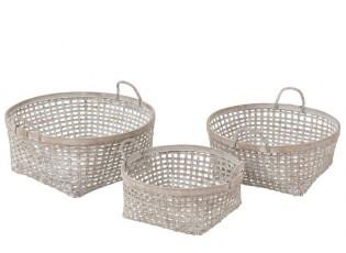 Sada 3 bambusových košíků s bílou patinou - Ø 51*20cm