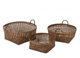 Sada 3 bambusových přírodních košíků - Ø 51*20cm