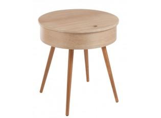 Dřevěný odkládací stolek s úložným prostorem - Ø 52*53cm