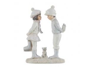 Dekorace děti s medvídkem a dárečkem - 11*6*16cm