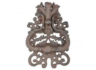 Hnědé litinové klepadlo na dveře s ornamentem - 13*3*19 cm
