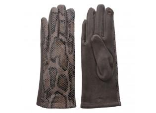 Šedé rukavice v imitaci hadí kůže - 9*24 cm