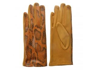 Okrové rukavice v imitaci hadí kůže  - 9*24 cm