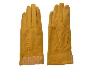 Okrové dámské rukavice s výšivkou - 8*24 cm