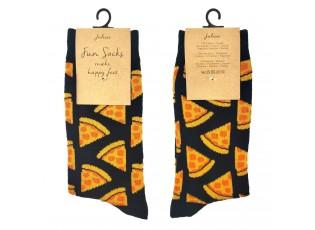 Veselé černé ponožky s pizzami - 35-38