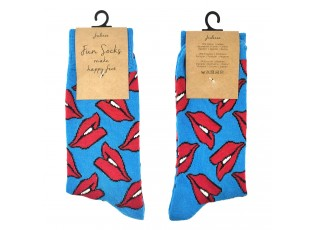 Veselé modré ponožky s pusinkami - 35-38