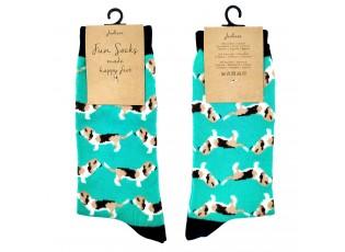 Veselé tyrkysové ponožky s pejsky - 39-41