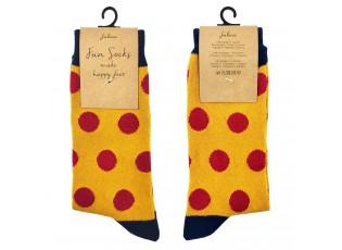 Veselé žluté ponožky s puntíky - 39-41