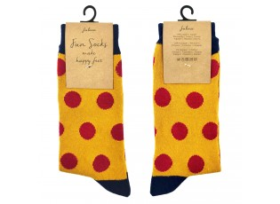 Veselé žluté ponožky s puntíky - 35-38