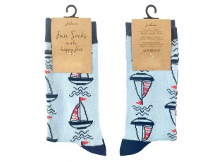 Veselé modré ponožky s loďkami - 39-41