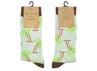 Veselé zelené ponožky s palmami - 35-38