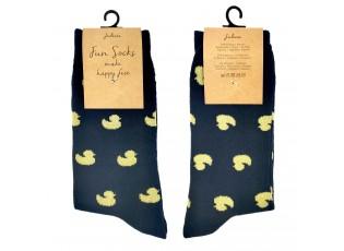 Veselé černé ponožky s kačenkami - 35-38