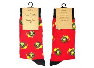 Veselé červené ponožky se lvíčky - 39-41