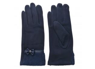 Modré dámské rukavice s kožešinkou - 8*24 cm