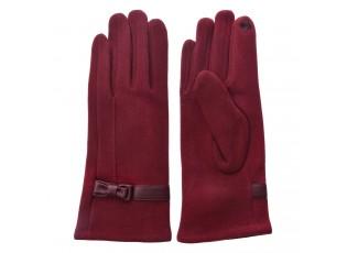 Vínové dámské rukavice s mašličkou - 8*24 cm