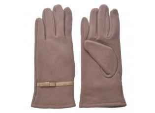 Béžové dámské rukavice s mašličkou - 8*24 cm