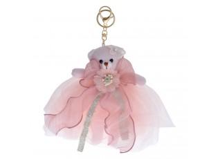 Plyšový růžový medvídek k zavěšení - 20 cm