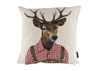 Gobelínový polštář s jelenem v červeném tyrolském kroji - 45*15*45cm