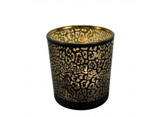 Černý skleněný svícen ve vzoru jaguár - Ø 10*12,5cm