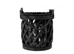 Černá ratanová lucerna Diamond - Ø15*17cm