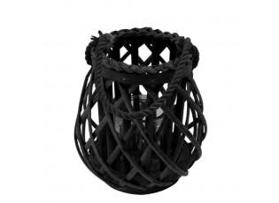 Černá ratanová oválná lucerna Black Diamond 20cm - Ø19*20cm