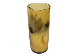 Zlatý skleněný svícen / váza s prohnutím - Ø16,5*40cm