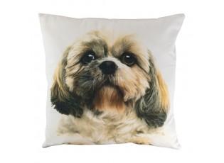 Plátěný polštář s potiskem tváře psa Shih-tzu - 50*50*10cm