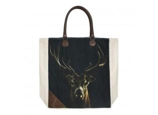 Bavlněno-kožený shopper s jelenem Black Deer - 40*44*12cm