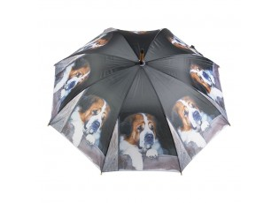 Černý deštník s bernardýnem - 105*105*88cm