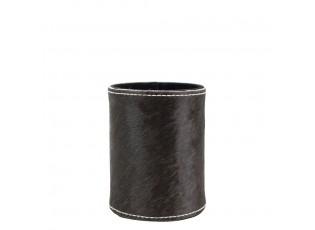 Kožený stojan na tužky z kravské kůže černá / bílá - Ø 9*10cm