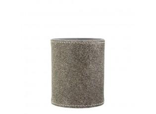 Šedý kožený stojan na tužky z kravské kůže  - Ø 9*10cm