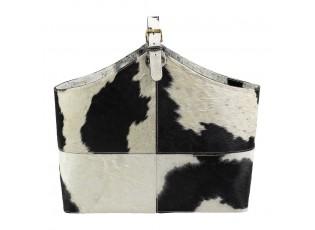 Kožený koš kravská kůže černá / bílá - 50*21*40cm