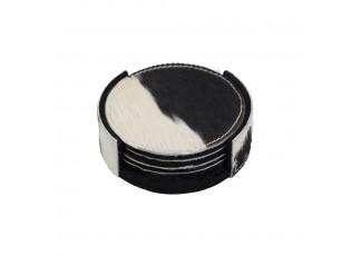 4ks kožených kulatých podtácků ve stojánku černá/bílá - Ø 10*0,5cm