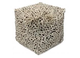 Krémový chlupatý puf s imitací rysí kůže - 45*45*45cm