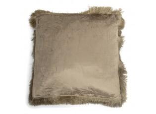 Taupe sametový polštář s třásněmi Smock - 45*45*10cm
