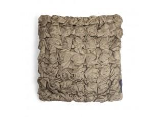 Taupe sametový nařasený polštář Smock- 30*30*10cm