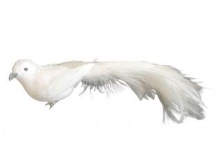 Bílá třpytivá ozdoba ptáček s peříčky  - 5*20 cm - sada 6ks