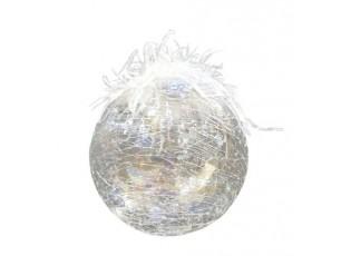 Transparentní ozdoba s popraskáním a peříčky  - Ø 12 cm