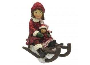 Dekorace děvče s panenkou na saních - 10*5*10 cm