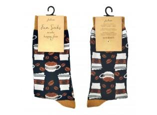 Veselé černé ponožky s kávou - 35-38