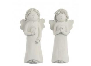 Sada 2ks bílých andělů s patinou - 11*10*24cm